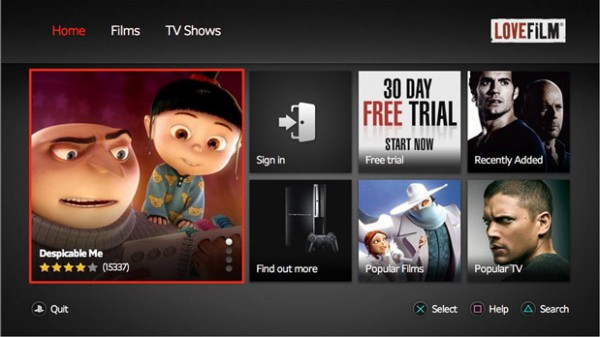 Amazon Updates LoveFilm for PlayStation 3 with HD Streaming