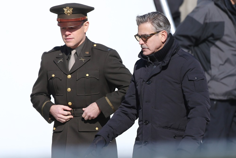 Clooney with Damon on set of The Monuments Men