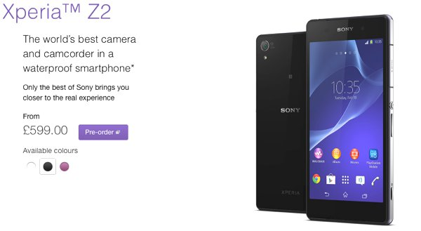 Sony Xperia Z2 UK Pricing