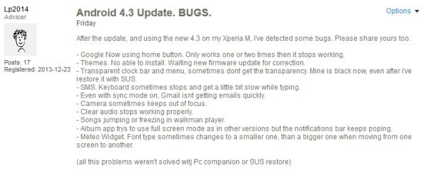 Sony xperia m update problem