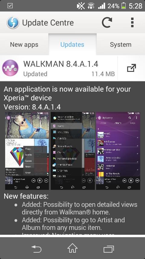Sony Walkman 8 4 A 1 4 App Update Now Live