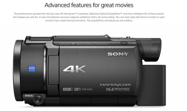 Sony AX53 4k Handycam with Balanced Optical SteadyShot